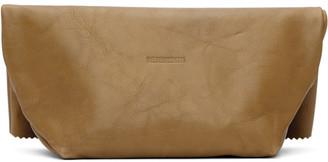 Vetements Beige Leather Paper Bag Clutch