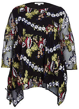 Caroline Rose Caroline Rose, Plus Size Women's Floral-Embroidered Lined Chiffon Tunic