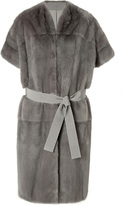 Giambattista Valli Mink Fur/Wool Belted Short Sleeve Coat in Grey