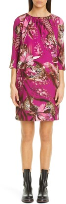 Fuzzi Leopard & Floral Print Shift Dress