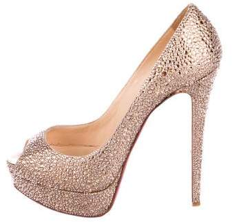 Christian Louboutin Strass Lady Peep Pumps