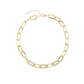 Love Rocks Elongated Oval Links With Crystal Links Detail Chain Necklace