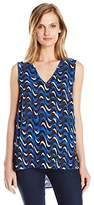 Jones New York Women's Wavy Geo Hi Lo V Neck Tank Top