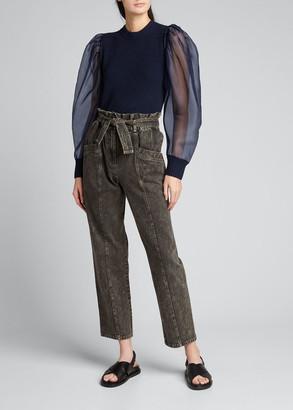 Sea James Organza-Sleeve Knit Top