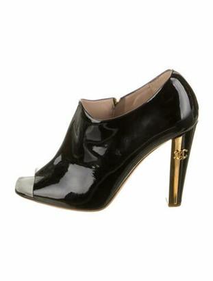 Chanel 2009 Peep Toe Boots Black