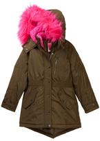 KensieGirl Hooded Anorak with Faux Fur Trim (Big Girls)
