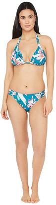 La Blanca Flyaway Orchid Double Strap Halter Bra Bikini Swimsuit Top (Caribbean Current) Women's Swimwear