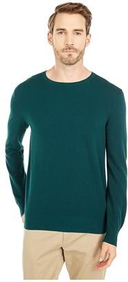 J.Crew Cotton-Cashmere Pique Crewneck Sweater (Old Forest) Men's Clothing