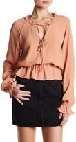 Lovers + Friends Front Tie Cutout Long Sleeve Blouse