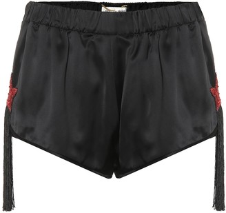 Saint Laurent Embellished satin shorts