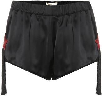 Saint Laurent Embellished satin shorts
