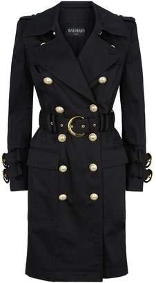 Balmain Gold-Tone Button Gabardine Trench Coat