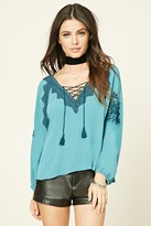 Forever 21 FOREVER 21+ Embroidered Lace-Up Peasant Top