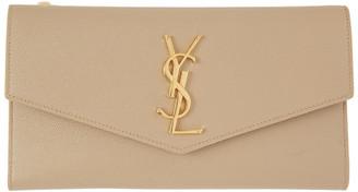 Saint Laurent Beige Large Uptown Wallet
