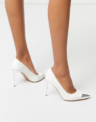 ASOS DESIGN Paige stilletto court shoes with toe cap in white
