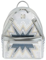 MCM Dual Stark Studded Leather Backpack - White