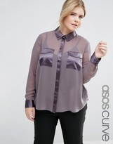 Asos Sheer Blouse with Satin Pockets