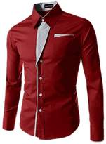 ARJOSA Men's Color Block Button-Down Pockets Point Collar Slim Fit Dress Shirt (, Red)