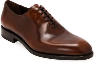Salvatore Ferragamo Men's Angiolo Tramezza Whole-Cut Leather Oxford Shoes