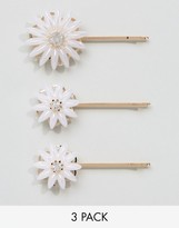Asos Pack Of 3 Faux Pearl Flower Hair Grips