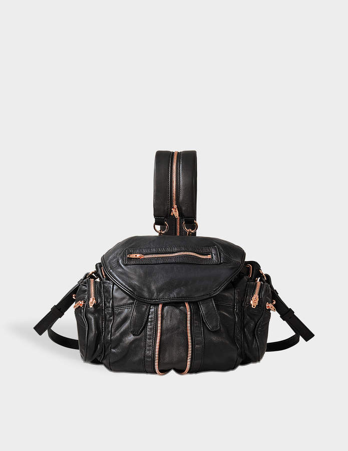 Alexander Wang Mini Marti Backpack in Black Lambskin Leather with Rose Gold Finish