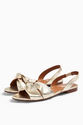 Topshop LUCKY Gold Leather Knot Slingback Flat Shoes