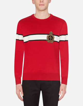 Dolce & Gabbana Crew Neck Virgin Wool Sweater With Patch