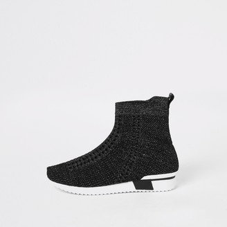River Island Girls Black glitter high top knitted trainers