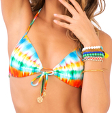 Luli Fama L487435 Molded Push Up Bandeau Halter in Multicolor