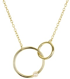 Aqua Interlocking Rings & Pearl 18K Gold-Plated Sterling Silver Necklace, 15 - 100% Exclusive