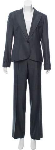 148 Virgin Wool Peaked-Lapel Pantsuit