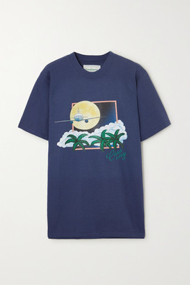 Casablanca Printed Cotton-jersey T-shirt - Navy