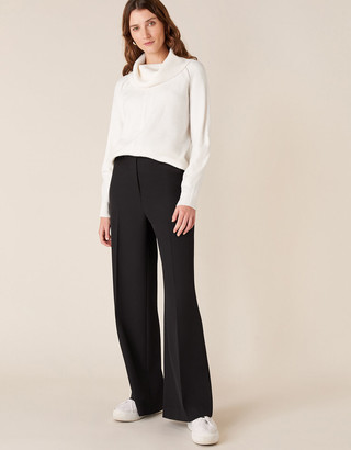 Monsoon Tailored Wide-Leg Trousers Black