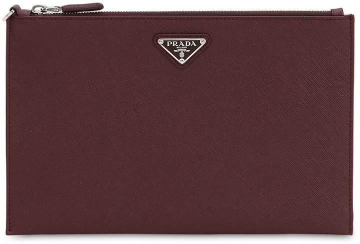 b32ce331f Prada Mens Leather Zip Pouch - ShopStyle