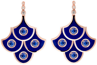 Selim Mouzannar Diamond Sapphire and Blue Enamel Scales Mini Chandelier Earrings - Rose Gold