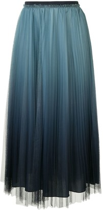 RED Valentino Ombre Pleated Midi Skirt