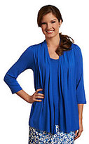 As Is Liz Claiborne New York Cascade Cardigan Duet w/ Chiffon Trim