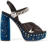 Miu Miu Embellished Satin And Velvet Platform Sandals - Black