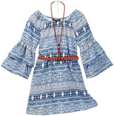 My Michelle mymichelle Paisley Print Belted Bell Sleeve Dress with Necklace (Big Girls)