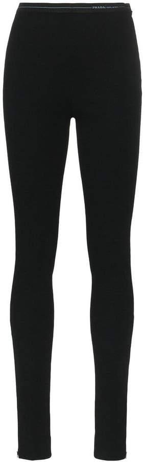 Prada black logo waistband jersey leggings