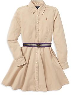 Ralph Lauren Polo Girls' Chino Shirt Dress with Belt - Little Kid