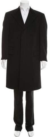 Gucci Velvet-Trimmed Wool Overcoat