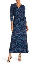 Spense Tie Waist 3/4 Sleeve Maxi Shirt Dress