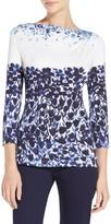 St. John Blue Jasmine Floral Print Jersey T-Shirt