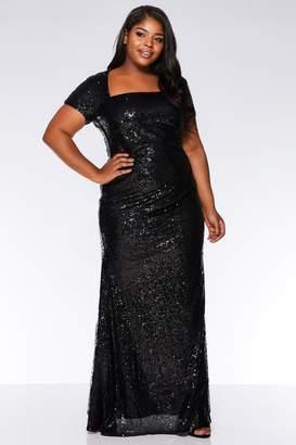 Quiz Curve Black Sequin Cap Sleeve Maxi Dress