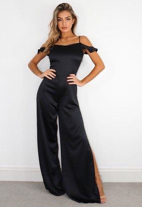 Missguided Tall Black Cowl Cold Shoulder Jumpsuit