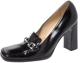 Gucci Black Leather Square Horsebit Square Toe Pumps Size 37