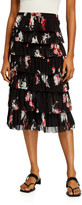 Fuzzi Auqrello Tiered Ruffle Pencil Skirt