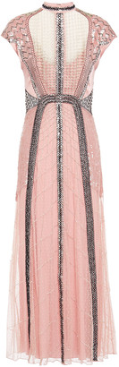Temperley London Embellished Embroidered Tulle, Mesh And Satin Midi Dress