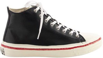 Marni Graffiti Black High-top Sneaker In Leather With Partial Rubber Coating